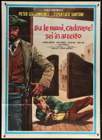 7t653 RAISE YOUR HANDS DEAD MAN YOU'RE UNDER ARREST Italian 1p 1971 cool spaghetti western art!