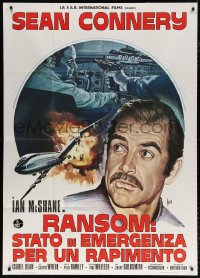 7t651 RANSOM Italian 1p 1975 different Aller art of cockpit & Sean Connery by crashing plane!