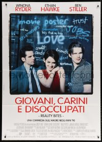 7t650 REALITY BITES Italian 1p 1994 Winona Ryder, Ben Stiller, Ethan Hawke, love in the 1990s!