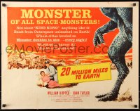 7w001 20 MILLION MILES TO EARTH style B 1/2sh 1957 creature invades the Earth, cool monster art!