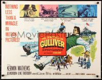 7w002 3 WORLDS OF GULLIVER 1/2sh 1960 Ray Harryhausen fantasy classic, art of giant Kerwin Mathews!