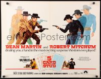 7w003 5 CARD STUD 1/2sh 1968 Dean Martin & Robert Mitchum play poker & point guns at each other!