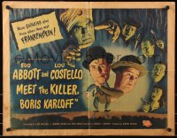 7w008 ABBOTT & COSTELLO MEET THE KILLER BORIS KARLOFF style B 1/2sh 1949 scared Bud & Lou, rare!