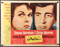 7w011 ADA 1/2sh 1961 super close portraits of Susan Hayward & Dean Martin, what was the truth?