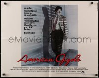7w017 AMERICAN GIGOLO int'l 1/2sh 1980 male prostitute Richard Gere is being framed for murder!