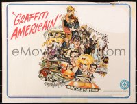 7w018 AMERICAN GRAFFITI 1/2sh 1973 George Lucas teen classic, wacky Mort Drucker artwork of cast!