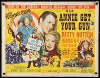 7w020 ANNIE GET YOUR GUN style A 1/2sh 1950 Betty Hutton as the greatest sharpshooter, Howard Keel