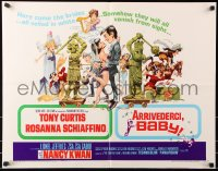 7w022 ARRIVEDERCI, BABY 1/2sh 1966 Tony Curtis is a ladykiller, great wacky Jack Davis art!