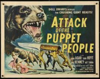 7w024 ATTACK OF THE PUPPET PEOPLE 1/2sh 1958 Brown art of tiny people w/ knife attacking dog!