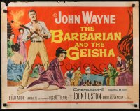 7w028 BARBARIAN & THE GEISHA 1/2sh 1958 John Huston, art of John Wayne with torch & Eiko Ando!