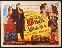7w029 BARON OF ARIZONA 1/2sh 1950 directed by Samuel Fuller, art of Vincent Price & top stars!