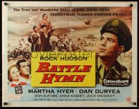7w031 BATTLE HYMN style B 1/2sh 1957 art of Rock Hudson as clergyman turned fighter pilot!