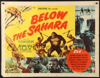 7w037 BELOW THE SAHARA style B 1/2sh 1953 great giant ape image vs. tribesmen artwork!