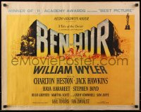 7w038 BEN-HUR style A 1/2sh 1960 Charlton Heston, William Wyler classic religious epic, chariot art