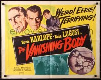 7w041 BLACK CAT 1/2sh R1953 Boris Karloff, Bela Lugosi, The Vanishing Body, weird & terrifying!