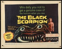 7w042 BLACK SCORPION 1/2sh 1957 art of wacky creature looking more laughable than horrible!