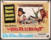 7w050 BRUTE & THE BEAST 1/2sh 1969 Lucio Fulci, cool art of Franco Nero, George Hilton!