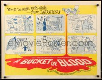 7w051 BUCKET OF BLOOD 1/2sh 1959 Roger Corman, AIP, great cartoon monster art!