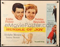 7w053 BUNDLE OF JOY style B 1/2sh 1957 Debbie Reynolds, Eddie Fisher, Adolphe Menjou, stork!