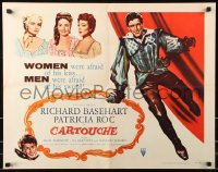 7w059 CARTOUCHE 1/2sh 1957 women were afraid of his kiss, men were afraid of his sword!