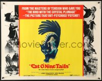 7w063 CAT O' NINE TAILS 1/2sh 1971 Dario Argento's Il Gatto a Nove Code, wild horror art of cat!