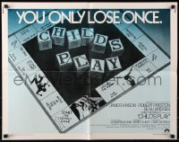 7w067 CHILD'S PLAY int'l 1/2sh 1973 directed by Sidney Lumet, cool board game image!