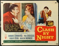 7w069 CLASH BY NIGHT style B 1/2sh 1952 Fritz Lang, Barbara Stanwyck, Ryan, Marilyn Monroe shown!