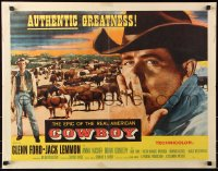 7w072 COWBOY style A 1/2sh 1958 cool close-up art of smoking Glenn Ford & Jack Lemmon!