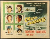 7w073 CRASH LANDING style A 1/2sh 1958 Gary Merrill, Nancy Davis, the moment when 32 lives are laid bare!