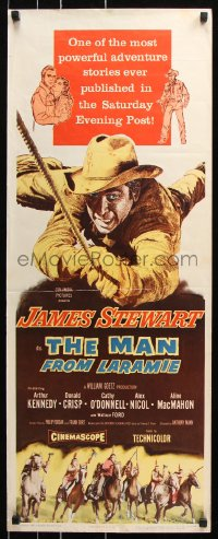 7w843 MAN FROM LARAMIE insert 1955 cool art of cowboy James Stewart, directed by Anthony Mann!