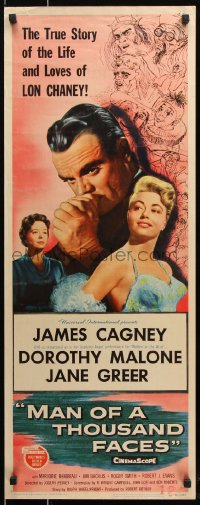 7w845 MAN OF A THOUSAND FACES insert 1957 art of James Cagney as Lon Chaney Sr. by Reynold Brown!