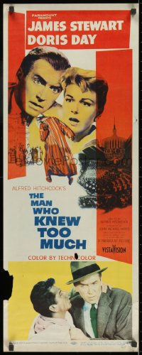 7w846 MAN WHO KNEW TOO MUCH insert 1956 James Stewart & Doris Day, directed by Alfred Hitchcock!