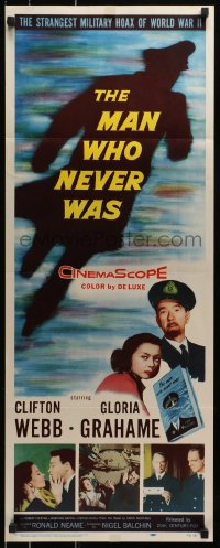 7w847 MAN WHO NEVER WAS insert 1956 Clifton Webb, Gloria Grahame, strangest military hoax of WWII!