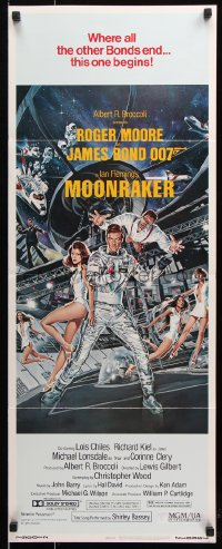 7w856 MOONRAKER insert 1979 art of Moore as James Bond & sexy Lois Chiles by Goozee!