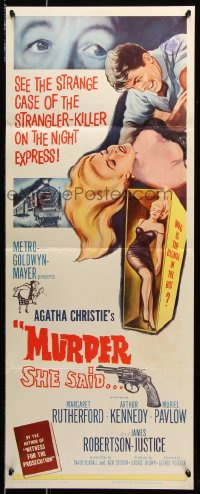 7w860 MURDER SHE SAID insert 1961 detective Margaret Rutherford follows a strangler, Agatha Christie