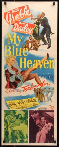 7w861 MY BLUE HEAVEN insert 1950 great art of sexy dancer Betty Grable & Dan Dailey too!