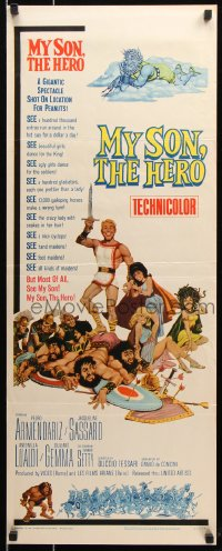7w865 MY SON, THE HERO insert 1963 Arrivano I Titani, great sword & sandal action!