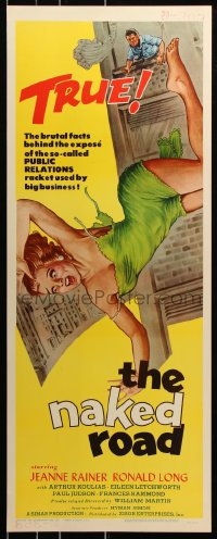 7w868 NAKED ROAD insert 1959 wacky artwork of sexy girl w/torn dress pushed out of skyscraper window!