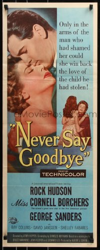 7w870 NEVER SAY GOODBYE insert 1956 close up of Rock Hudson holding Miss Cornell Borchers!