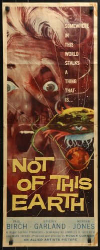 7w876 NOT OF THIS EARTH insert 1957 classic close up art of screaming Beverly Garland & alien monster!