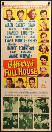7w878 O HENRY'S FULL HOUSE insert 1952 young Marilyn Monroe, Fred Allen, Anne Baxter, Jeanne Crain!