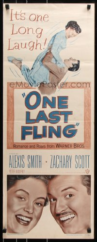 7w884 ONE LAST FLING insert 1949 laughing Zachary Scott hoists beautiful Alexis Smith in the air!