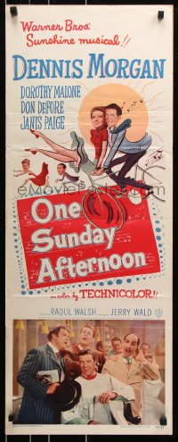 7w885 ONE SUNDAY AFTERNOON insert 1949 wacky artwork of Dennis Morgan & Dorothy Malone on bike!