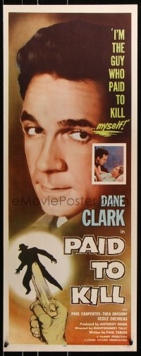 7w888 PAID TO KILL insert 1954 Dane Clark is the guy who paid to kill himself, cool image!