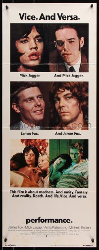 7w892 PERFORMANCE insert 1970 directed by Nicolas Roeg, Mick Jagger & James Fox trading roles!