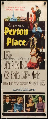 7w893 PEYTON PLACE insert 1958 Lana Turner, from novel of small town life by Grace Metalious!
