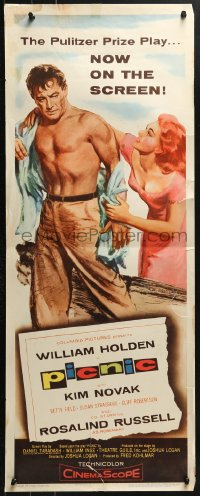 7w895 PICNIC insert 1956 great art of barechested William Holden & sexy long-haired Kim Novak!