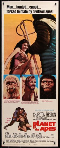 7w897 PLANET OF THE APES insert 1968 Charlton Heston, classic sci-fi, hunted & forced to mate!