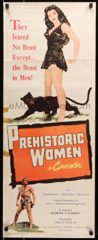 7w900 PREHISTORIC WOMEN insert 1950 Laurette Luez is held down by man threatening her with a torch!