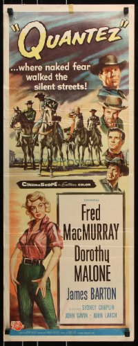 7w902 QUANTEZ insert 1957 artwork of Fred MacMurray & sexy Dorothy Malone with torn shirt!